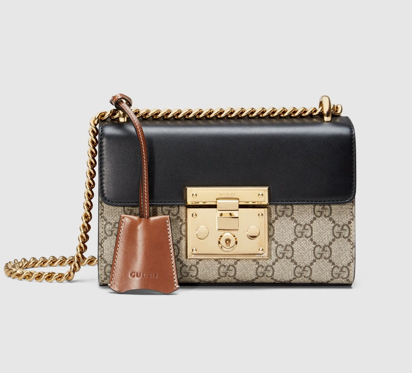 Gucci Padlock GG Supreme Shoulder Bag 409487 Black Leather