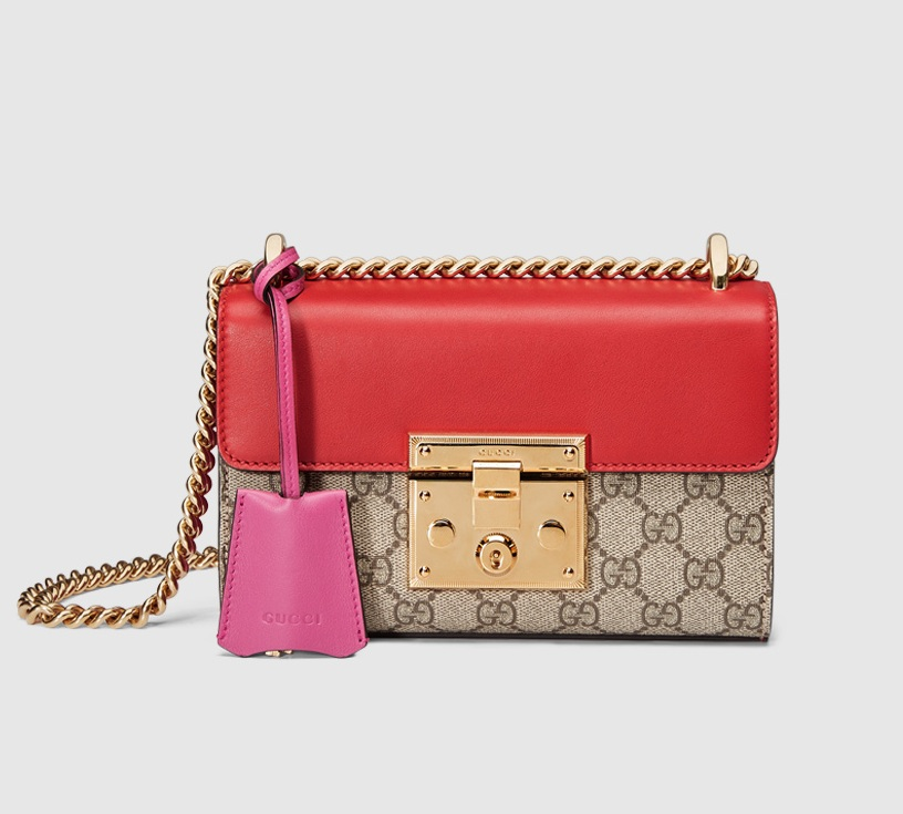 Gucci Padlock GG Supreme Shoulder Bag 409487 Red Leather