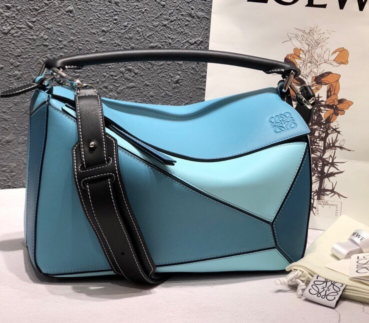 Loewe Puzzle Classic Calfskin Bag 061608 Blue&Skyblue