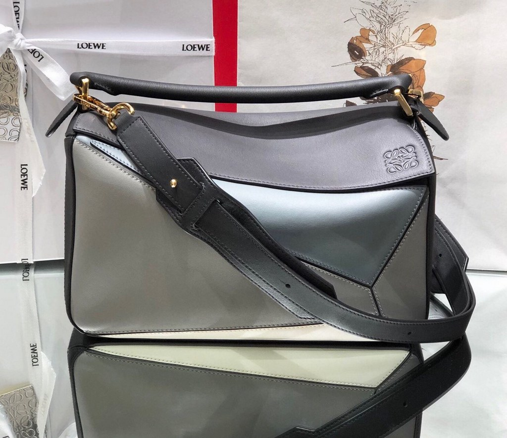 Loewe Puzzle Classic Calfskin Bag 061608 Grey&Skyblue