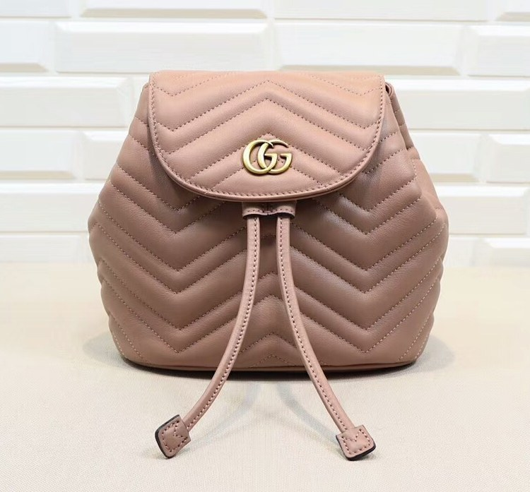 Gucci GG Marmont Matelasse Backpack 528129 Dusty Pink