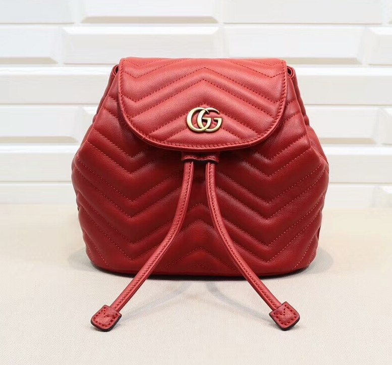 Gucci GG Marmont Matelasse Backpack 528129 Hibiscus Red