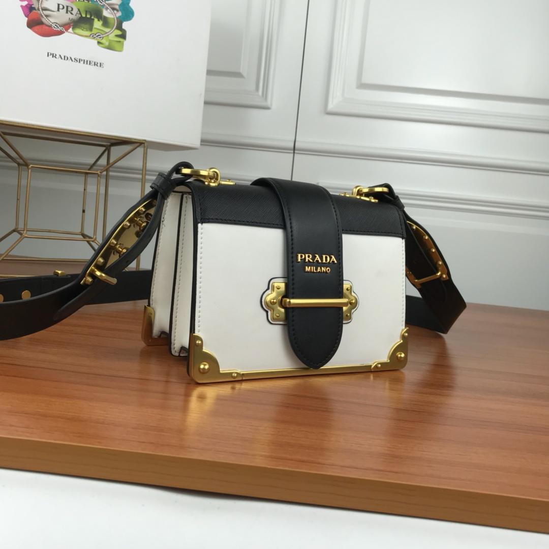 Prada Cahier Calf Leather Bag 1BD045 White