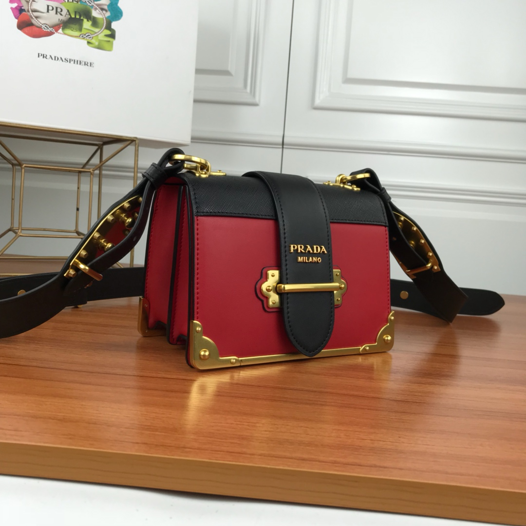 Prada Cahier Calf Leather Bag 1BD045 Red