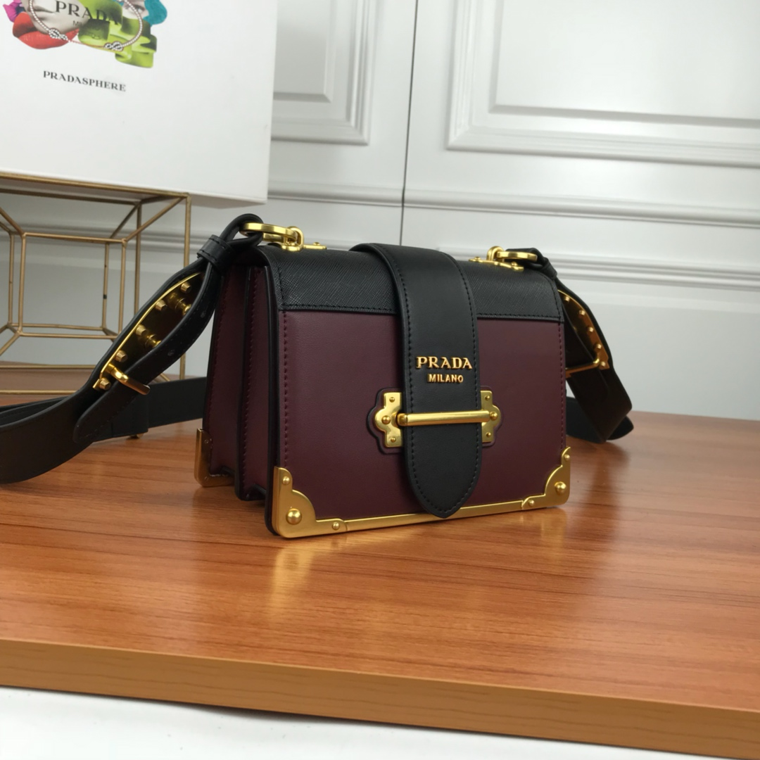 Prada Cahier Calf Leather Bag 1BD045 Wine