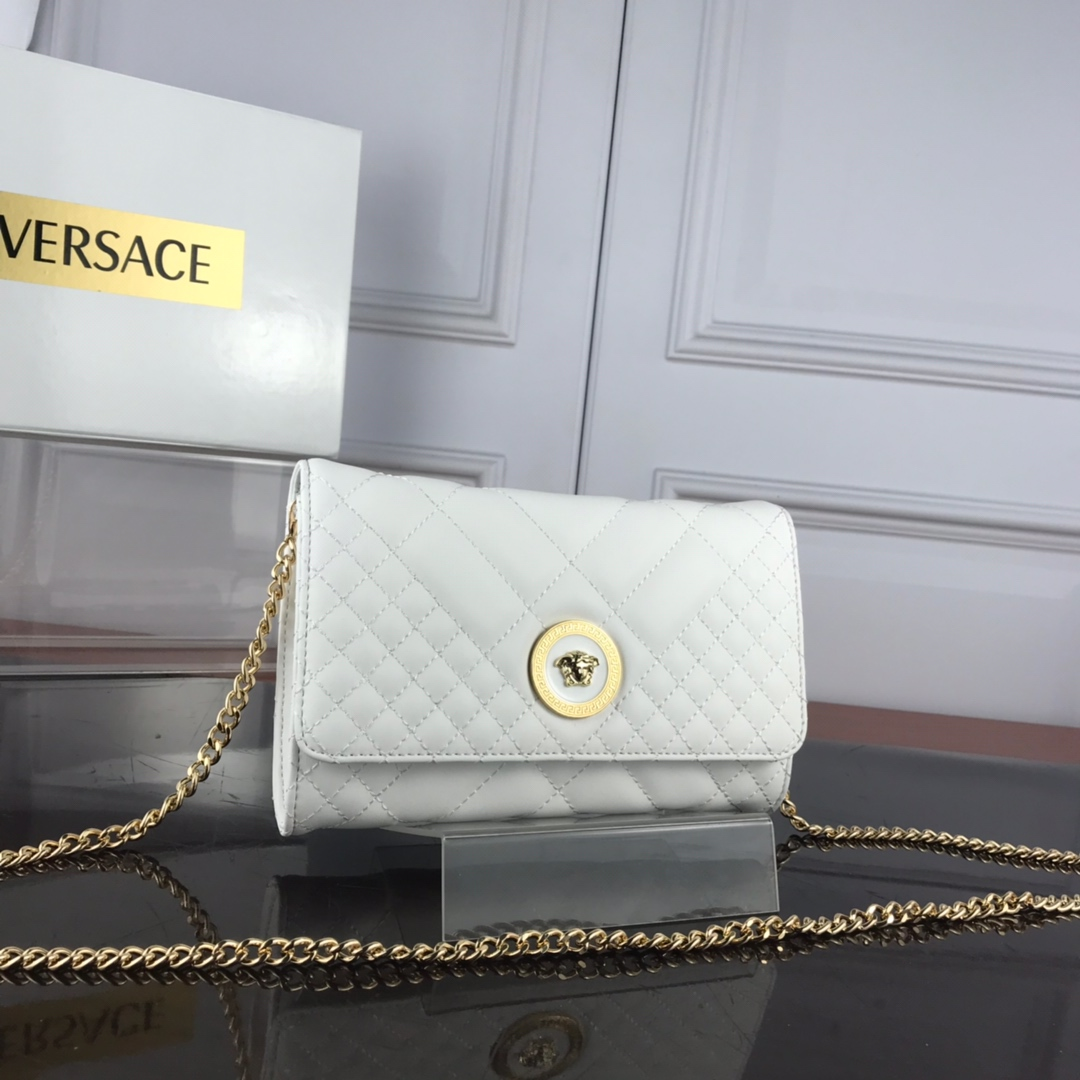 Versace Quilted Medusa Evening Bag DBSG377 White