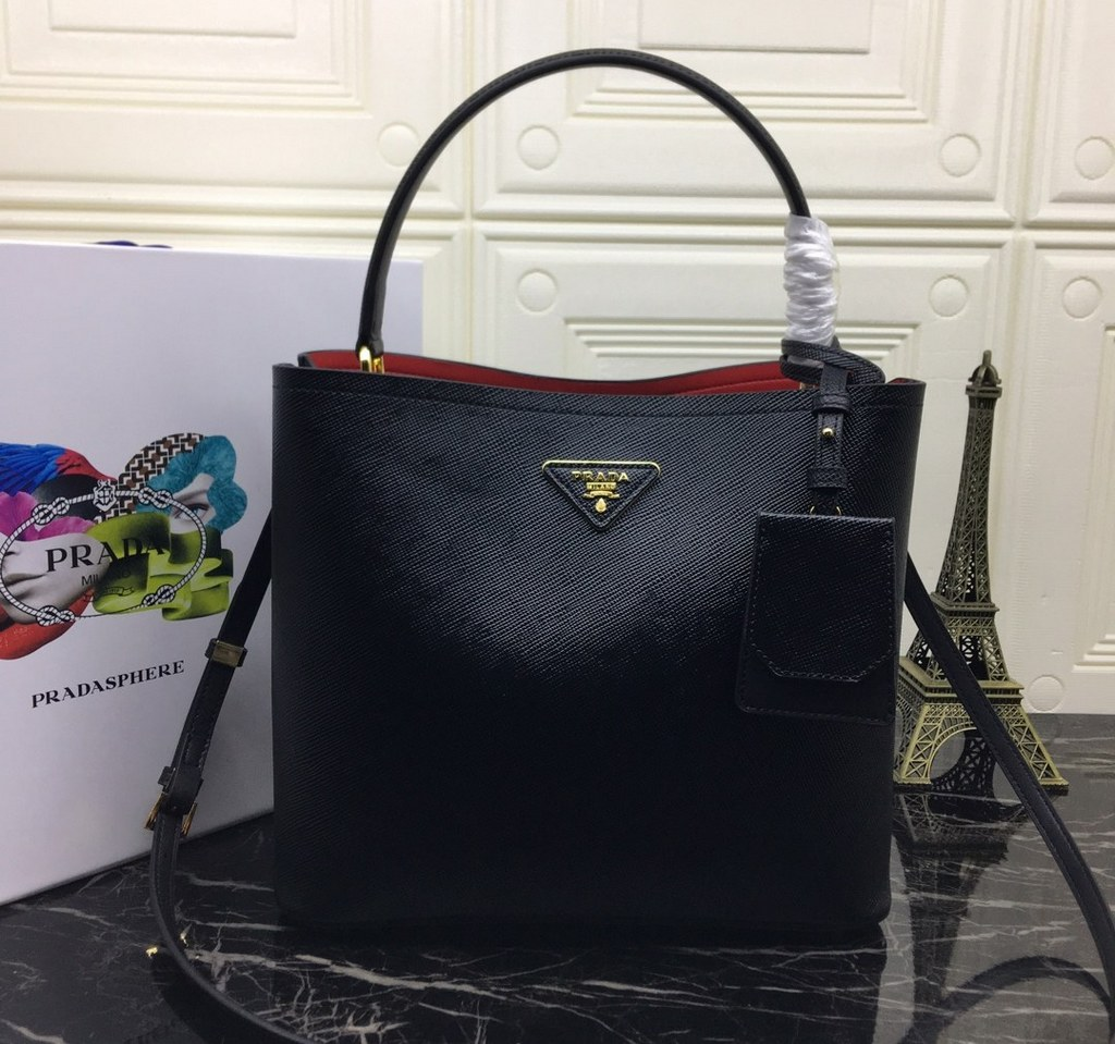 Prada Panier Saffiano Leather Bag 1BA211 Black