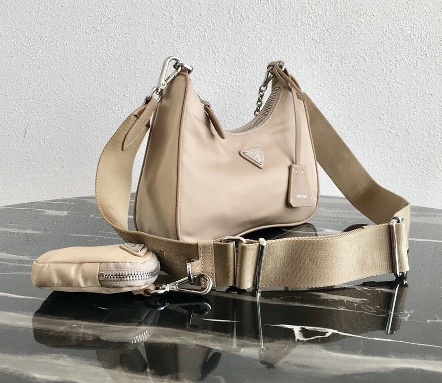 Prada Re-Edition 2005 Nylon Shoulder Bag 1BH204 Apricot