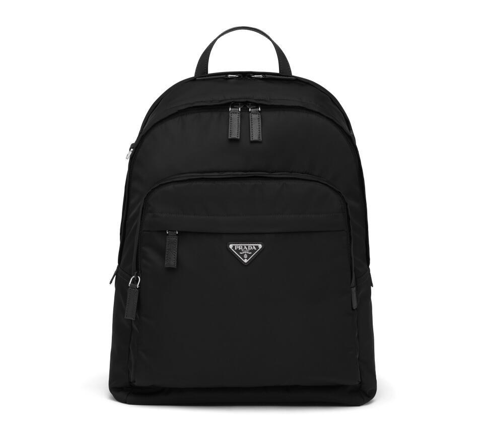 Prada Nylon and Saffiano Leather Backpack 2VZ048 Black
