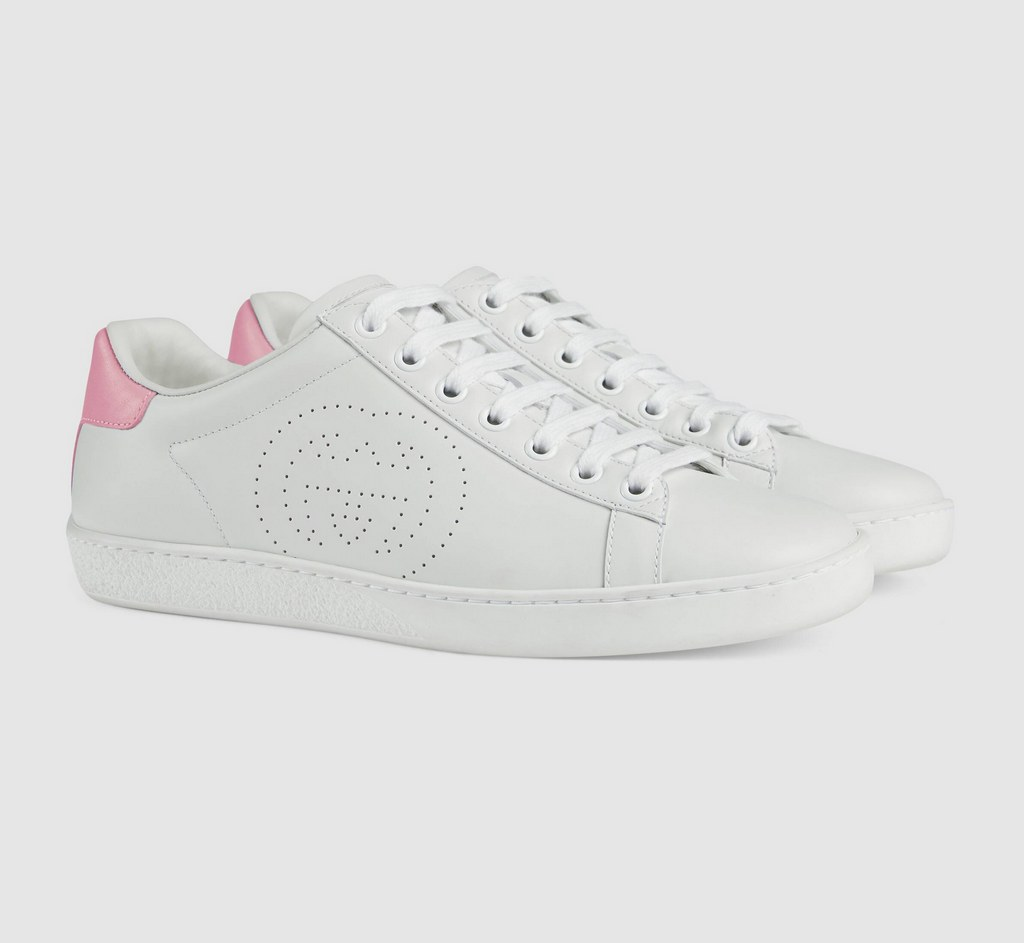 Gucci Ace sneaker with Interlocking G 598527 White&Pink
