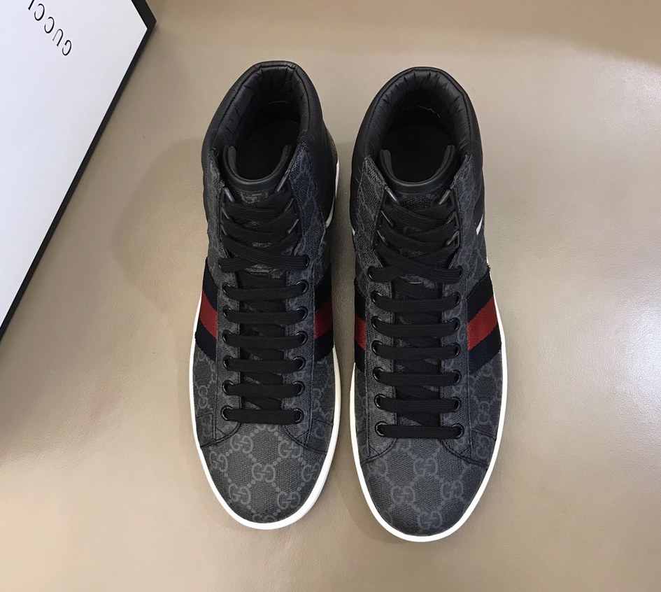 Gucci Ace GG High-top Sneaker 555197 Black
