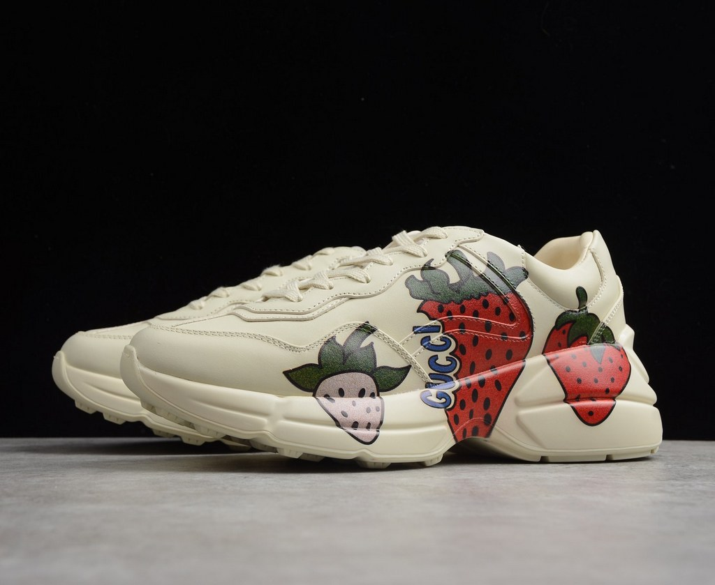 Gucci Rhyton Sneaker with Gucci Strawberry 576963 White