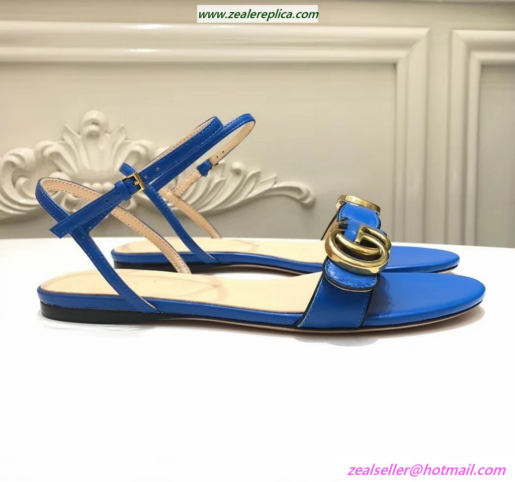 Gucci Leather Sandal with Double G 524631 Blue