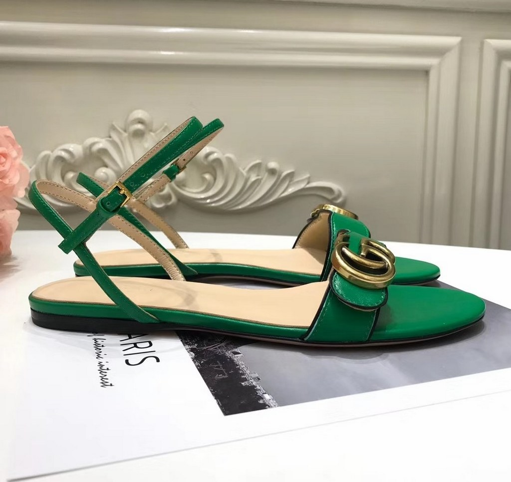 Gucci Leather Sandal with Double G 524631 Green
