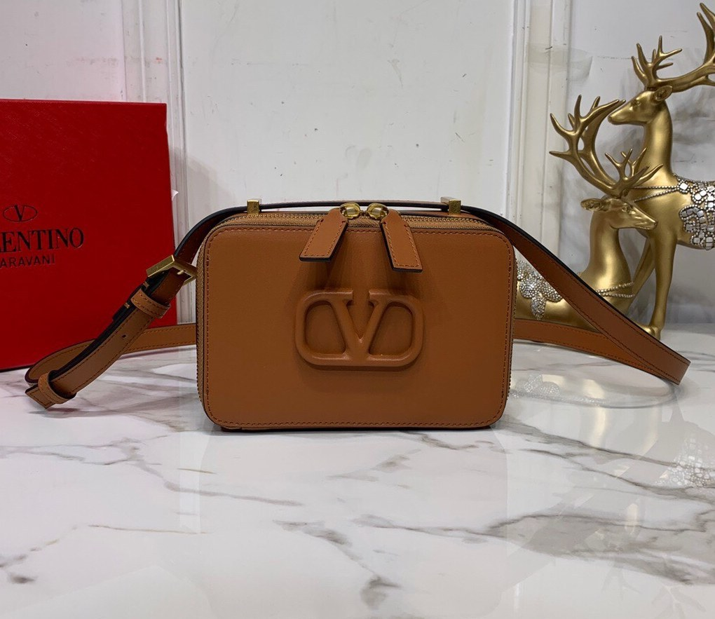 Valentino Garavani Vsling Smooth Calfskin Crossbody Bag SW0B0F19 Saddle Brown