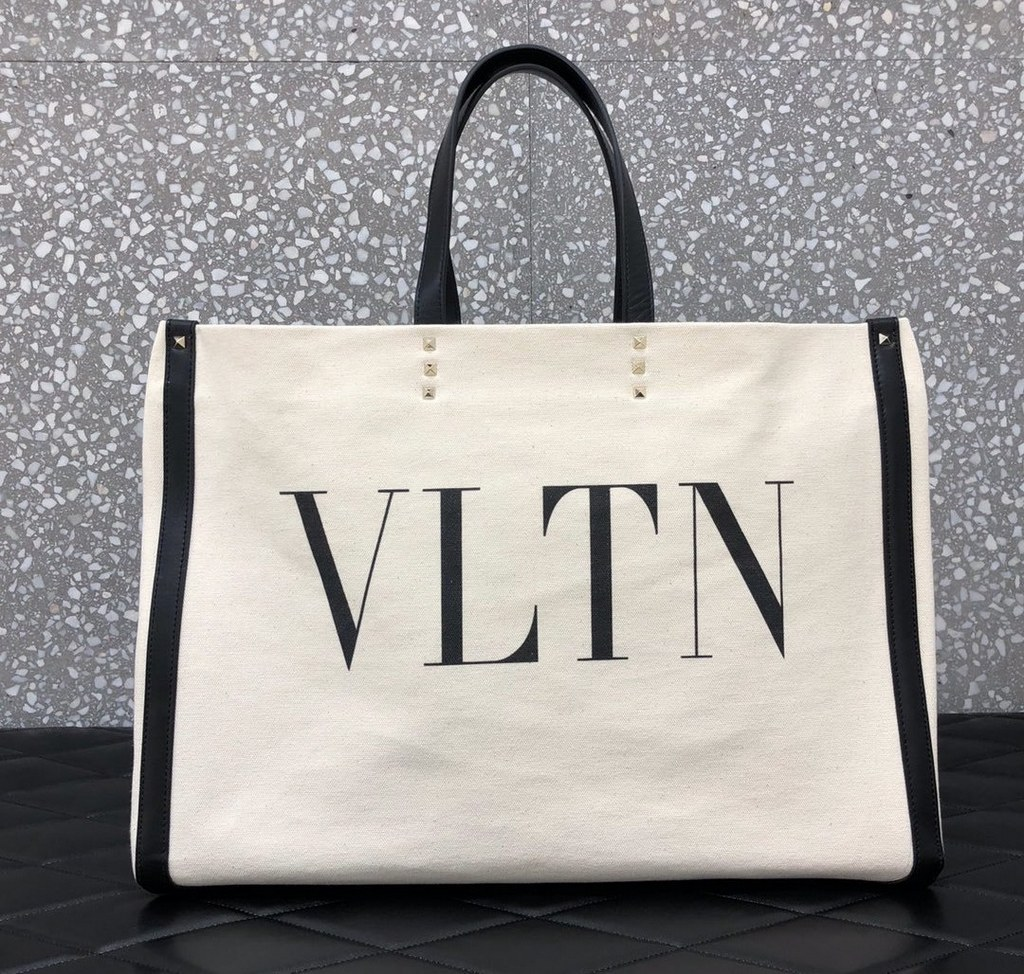 Valentino Garavani VLTN Canvas Shopper Bag TW2B0C89 Ivory