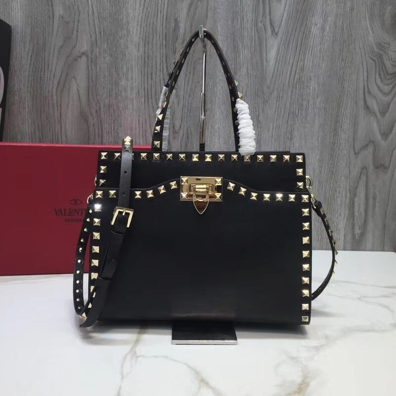 Valentino Garavani Rockstud Small Top Handle QW0B0C65A Black