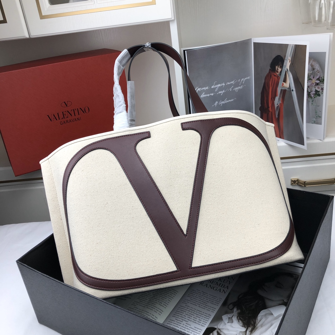 Valentino Garavani Vlogo Canvas Beach Bag 398352B Beige