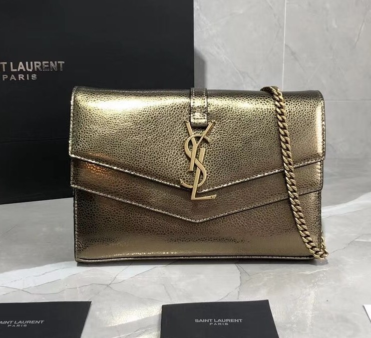 Saint Laurent Sulpice Smooth Leather Chain Wallet 554763 Bronze