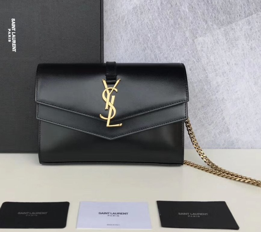 Saint Laurent Sulpice Smooth Leather Chain Wallet 554763 Black