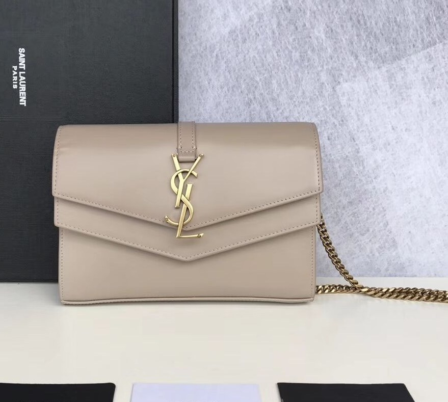Saint Laurent Sulpice Smooth Leather Chain Wallet 554763 Apricot