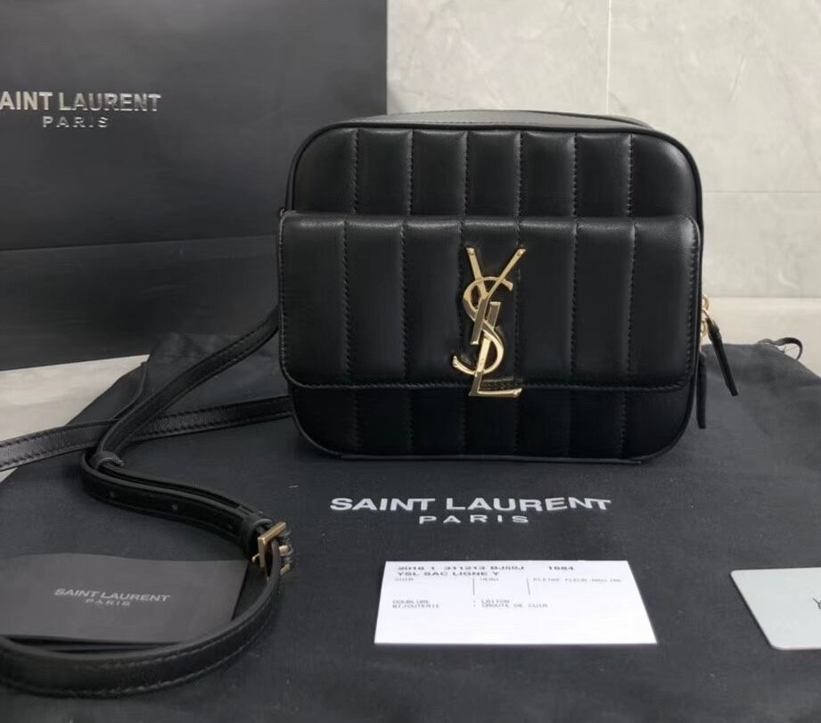 Saint Laurent Vicky Quilted Lambskin Camera Bag 555052 Black