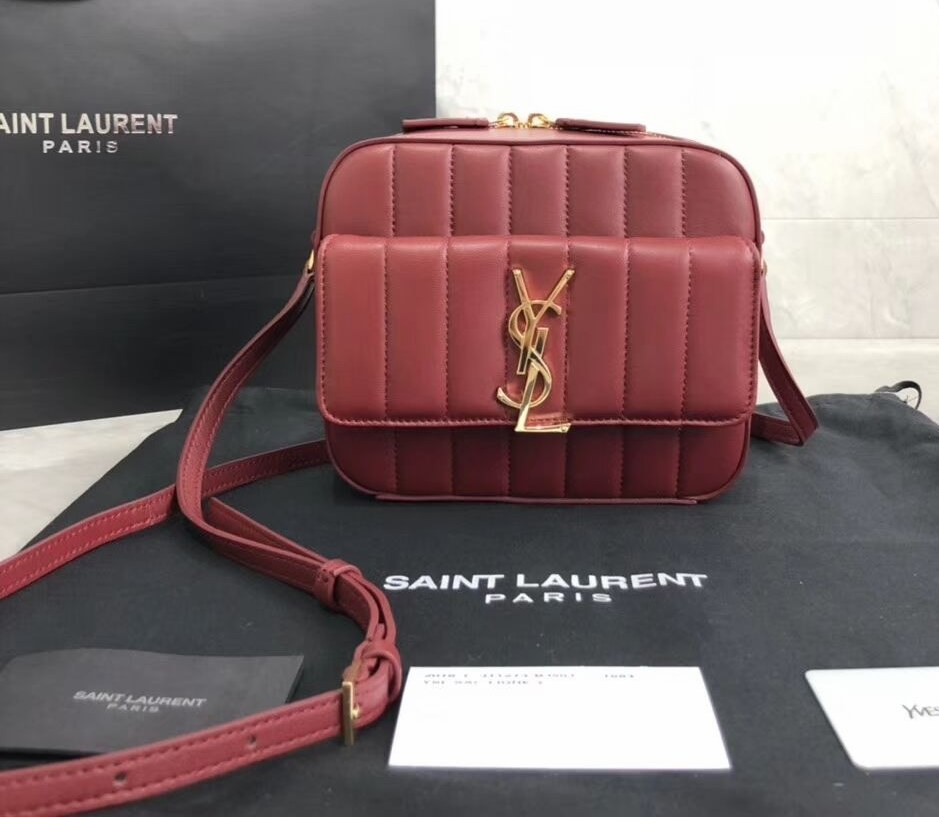 Saint Laurent Vicky Quilted Lambskin Camera Bag 555052 Burgundy