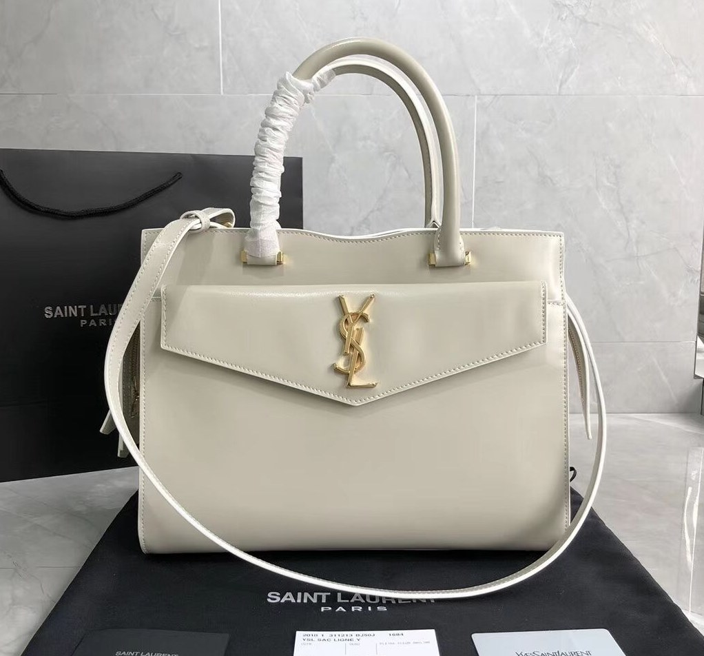 d6e4707a55 Saint Laurent Uptown Shiny Smooth Leather Medium Tote 557653 Blanc ...