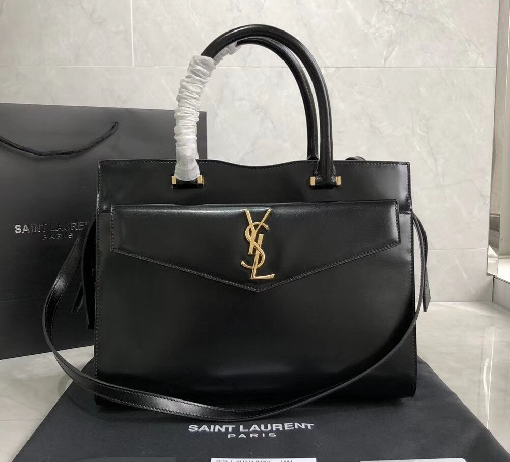 Saint Laurent Uptown Shiny Smooth Leather Medium Tote 557653 Black