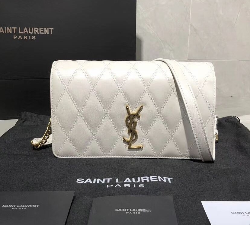 Saint Laurent Angie Quilted Lambskin Chain Bag 568906 White