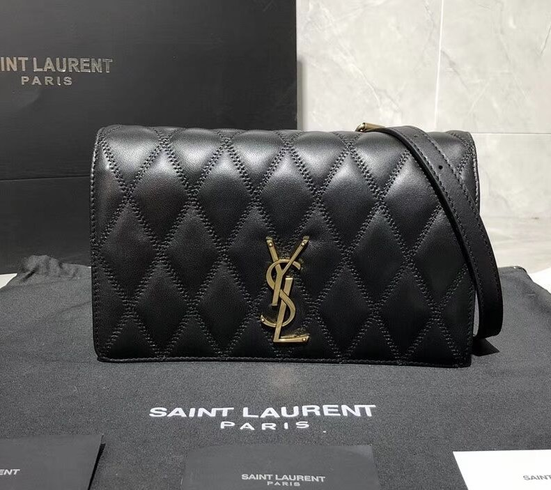 Saint Laurent Angie Quilted Lambskin Chain Bag 568906 Black