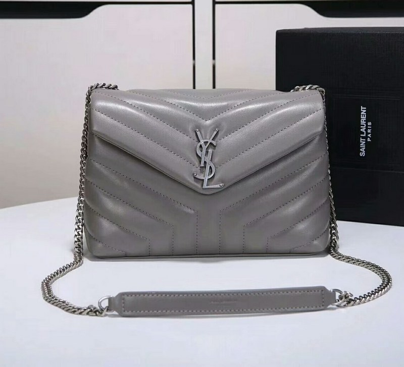 Saint Laurent Loulou Y Matelasse Small Chain Bag Y487218 Grey 538432130123a
