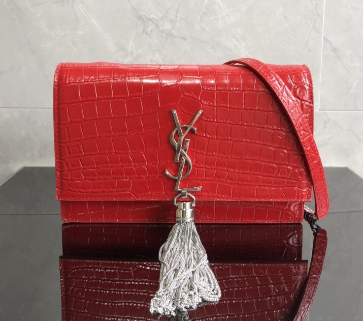 Saint Laurent Kate Crocodile Embossed Leather Chain Wallet 452159 Red