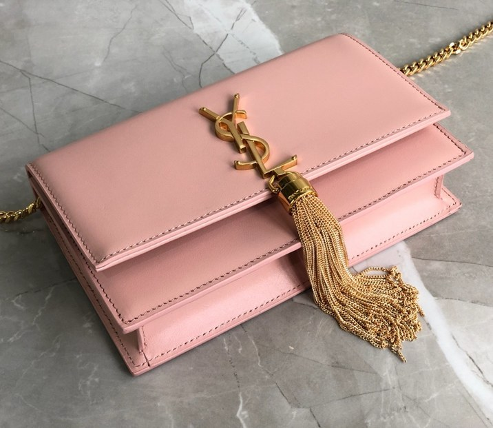 Saint Laurent Kate Smooth Leather Chain Wallet 452159 Pink