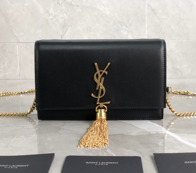 Saint Laurent Kate Smooth Leather Chain Wallet 452159A Black