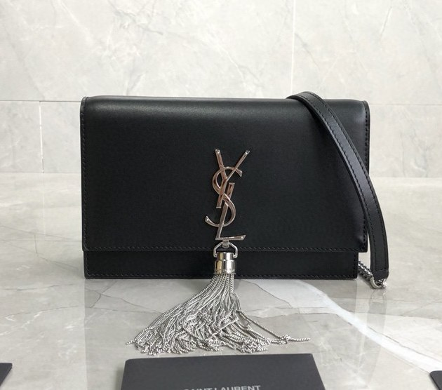 Saint Laurent Kate Smooth Leather Chain Wallet 452159B Black