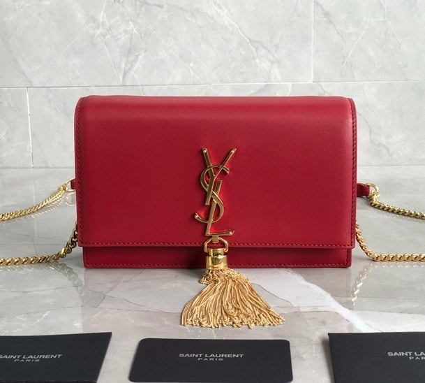 Saint Laurent Kate Smooth Leather Chain Wallet 452159 Red