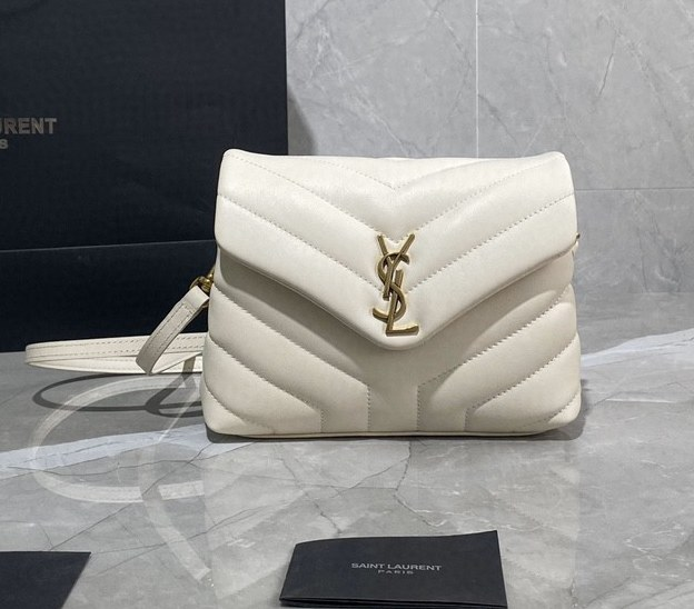 Saint Laurent Loulou Toy Y-Quilted Leather Bag 467072 White