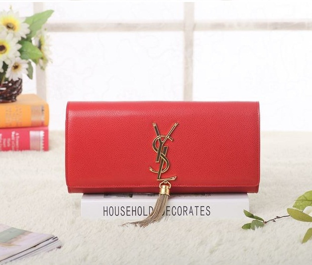 Yves Saint Laurent Classic Monogramme Tassel Clutch Bag 5485A Red