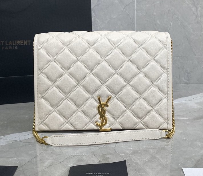 Saint Laurent Becky Quilted Lambskin Small Chain Bag 579607 White