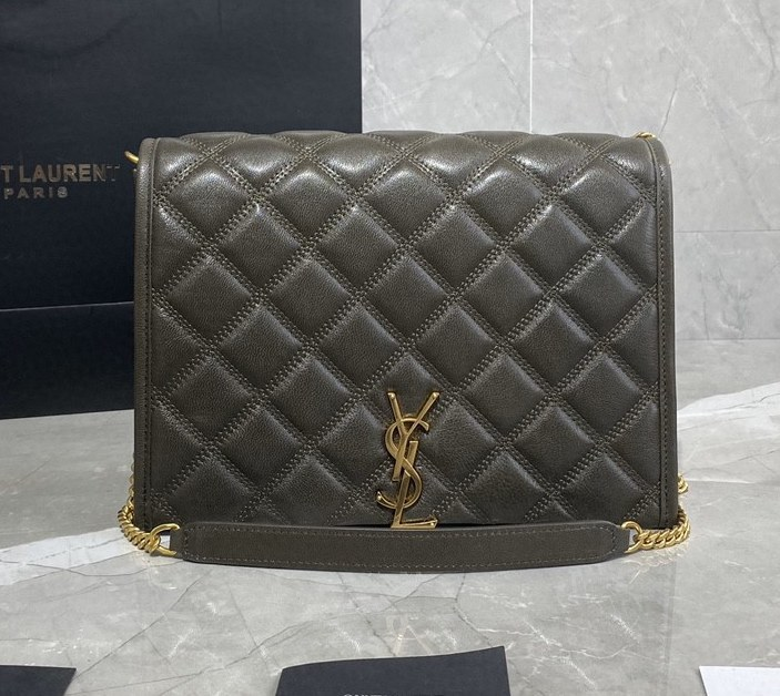 Saint Laurent Becky Quilted Lambskin Small Chain Bag 579607 Concrete