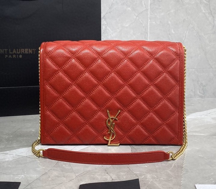 Saint Laurent Becky Quilted Lambskin Small Chain Bag 579607 Red