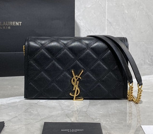 Saint Laurent Becky Quilted Lambskin Chain Wallet 585031 Black