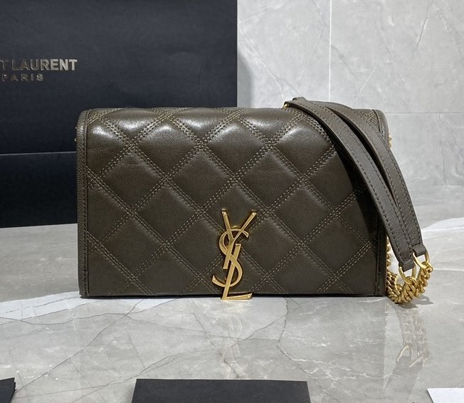 Saint Laurent Becky Quilted Lambskin Chain Wallet 585031 Olive