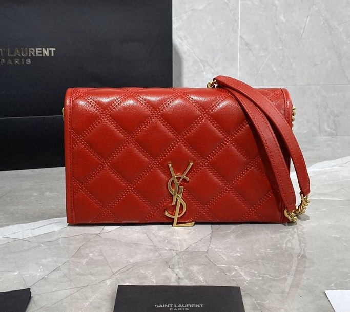 Saint Laurent Becky Quilted Lambskin Chain Wallet 585031 Red