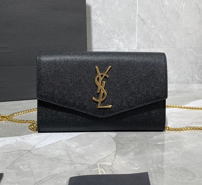 Saint Laurent Uptown Grain Leather Chain Wallet 607788 Black