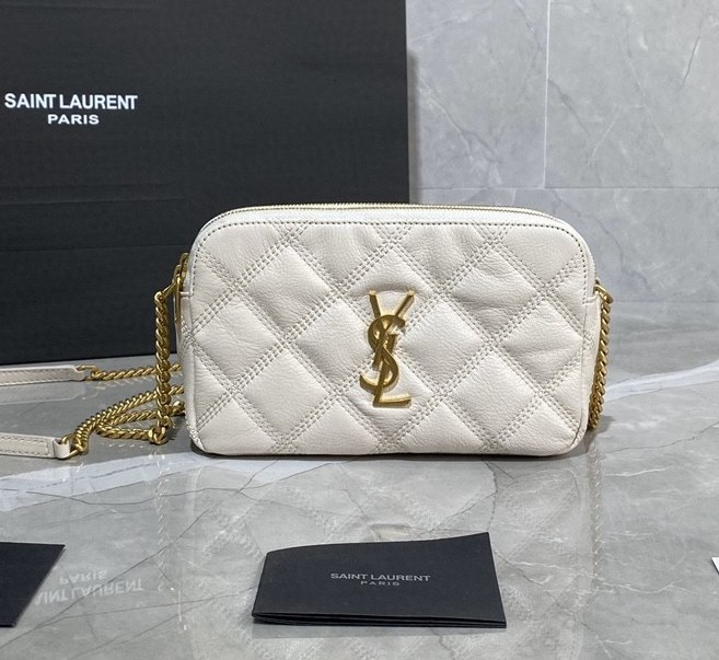 Saint Laurent Becky Quilted Lambskin Double Zip Pouch 608941 White