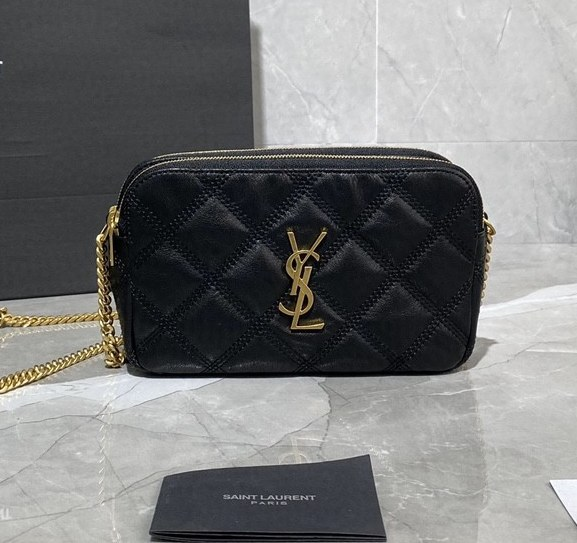 Saint Laurent Becky Quilted Lambskin Double Zip Pouch 608941 Black