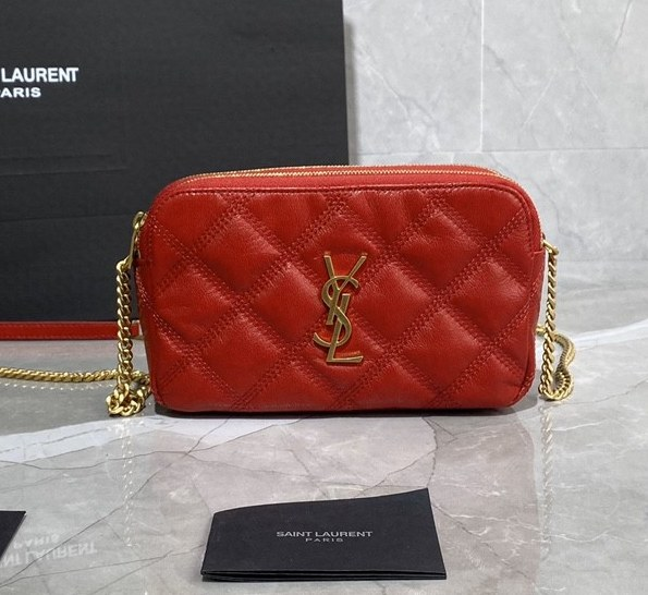 Saint Laurent Becky Quilted Lambskin Double Zip Pouch 608941 Red