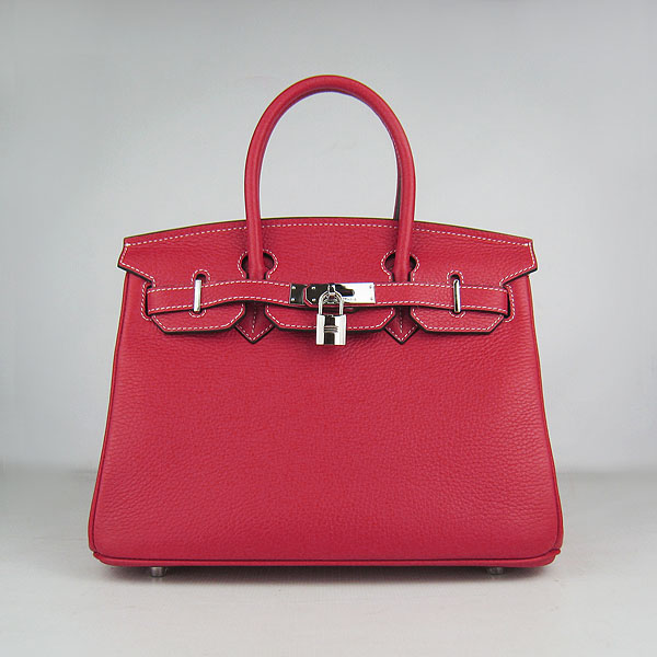 Hermes Birkin 30CM Togo Leather Bag 6088 Red(Silver Hardware)